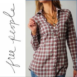 Free People Studded Top in Coral Plaid Button Up